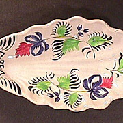 c1845 Ironstone Leaf or Relish Dish hand painted in Gaudy broad-brush style