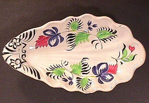 c1845 Gaudy Ironstone Leaf or Relish Dish (hand painted in broad brush style)