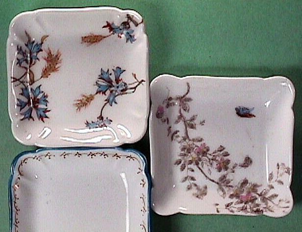 Three Antique Haviland Limoges Porcelain Butter Pats c1868, c1888, and c1889