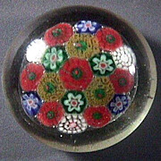 Concentric Millefiori Glass Paperweight with concave ground pontil (20th C but precise age unclear)
