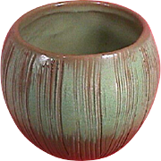 c1962 Green Coconut Vase or Flower Pot with Brushed Incising by Frankoma