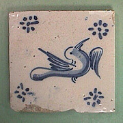 Mid 1600s European Tin Glazed Blue and White Bird Tile with Ming Influences (one left)