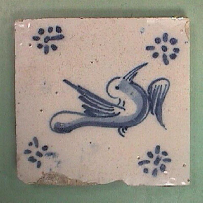 Late 1500s/Mid 1600s European Tin Glazed Blue and White Bird Tile (one left)