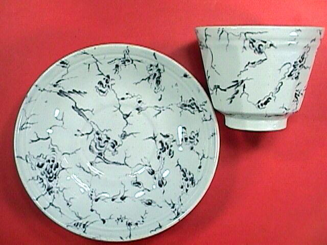 c1850 Marbled Ironstone Tea Cup and Saucer by J. Wedge Wood