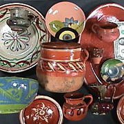 Thirteen Mexican Pottery Vessels for Collector or Cinco de Mayo Decorator (mid 20th Century)