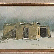 American Southwest Adobe House in Winter Snow Squall from c1996