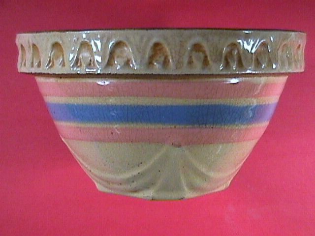 Small 5 Inch Yellowware Bowl with Pink & Blue Bands c1930