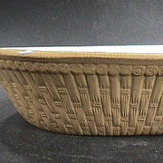 Mid-1800s Large Yellowware Pan or Baking Dish molded in the form a Basket (white slipped interior)