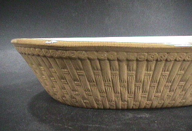 Mid-1800s Large Yellowware Pan or Bowl molded in the form a Basket (interior is white slipped)