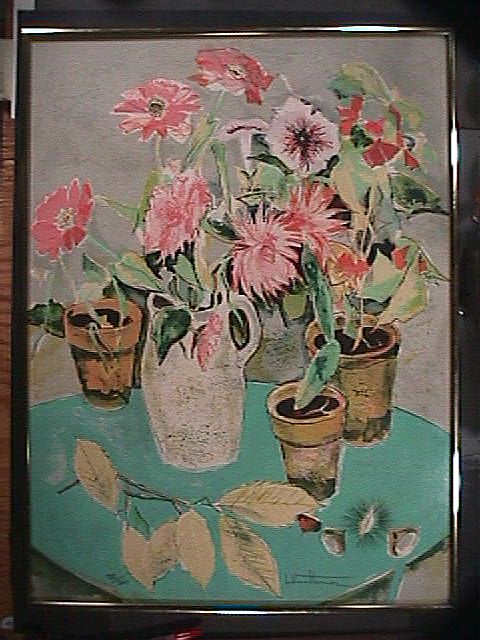 Still Life Potted Flowers in Matisse-style (signed print numbered 132/260)