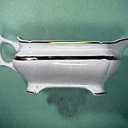 c1885 White Ironstone Gravy Pitcher with Luster Band by Vodrey and Brother (American factory)