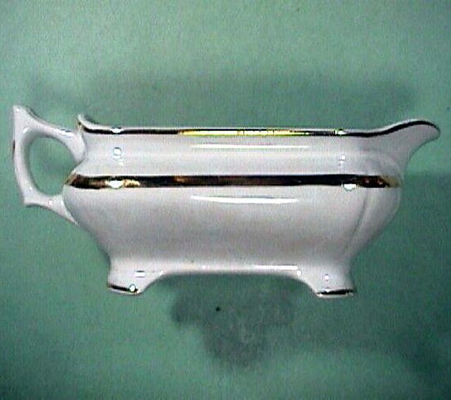 c1876-1890 White Ironstone Gravy Pitcher with Luster Band by Vodrey and Brother