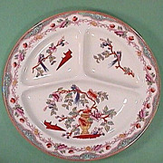 c1910 Hand Colored Chinese Parrots Grill Large Plate (Maestricht, Holland; up to 4 available)