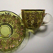 Late 1800s Brilliant Citron yellow Gold Encrusted hand blown Glass Teacup and Saucer