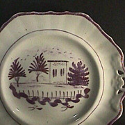c1845 Pink Luster Hand Painted English Porcelain Dessert Plate or Tray