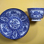 c1815 Cracked Ice motif Chinoiserie Blue Printed Pearlware Cup and Saucer