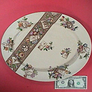 1884 Brown printed Aesthetic Platter with hand painted polychrome accents from W.A. Adderley pottery