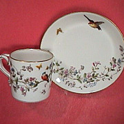 c1885 Haviland GDM Porcelain Cup and Saucer with Birds, Butterflies, Flowers and burnished gold