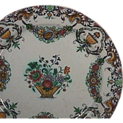 c1740 Rouen Faience Tin Glazed polychrome Plate with garlands and lambrequin border (very scarce)