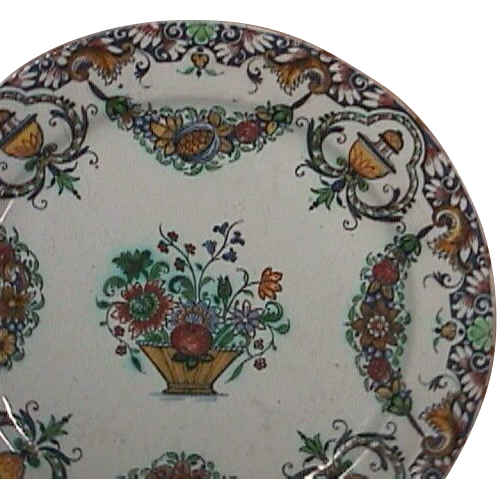 c1740 Rouen Faience Tin Glazed polychrome Plate with hand painted garlands and lambrequin border (very scarce)