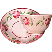 c1820 Adams Rose Pearlware Cup and Saucer hand painted in 4 colors