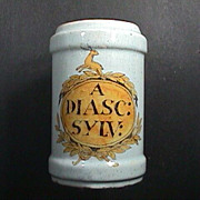 18th C Dutch Polychrome Delft Tin Glazed Apothecary Jar 'A DIASC: SYLV:'