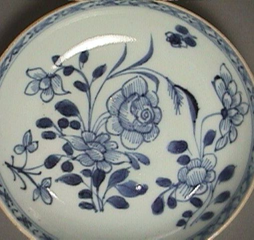 c1735 Chinese Blue & White Export Saucer PERFECT Condition (4.25 inch diam.)