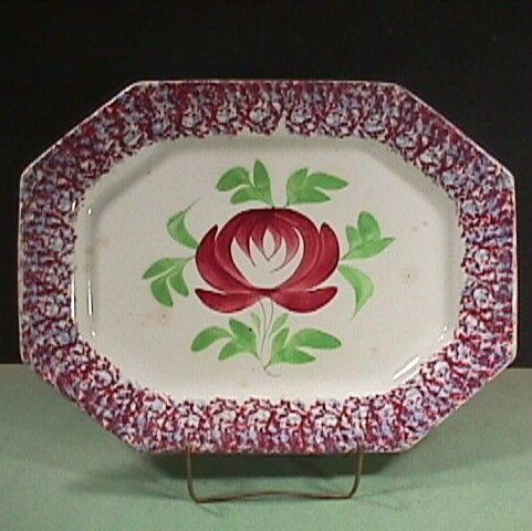 c1840  Red and Light Blue Spatterware 15+ inch Platter with large Adams Rose