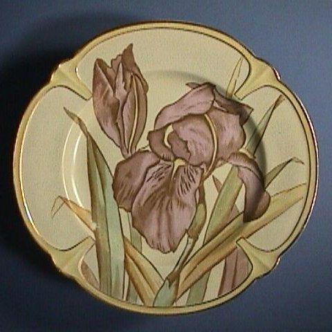 Nascent Art Nouveau Scottish Plate with hand colored Irises by Bayley Murray and Co (1875-84)