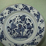 c1735 Chinese Export Porcelain Blue & White Plate 'Sacred Rock & Foliage'
