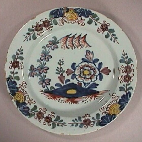 c1755 English Lambeth polychrome Delft Plate with Oriental Garden motif (five colors)