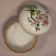 c1875 Polychrome painted Chinese Porcelain round covered Box (3 inch diam.)