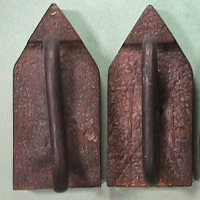 Antique Sand Cast pair of smoothing Flat Sad Irons with wrought handles from 17th or 18th Century - scarce