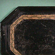 c1820 American tinned and painted octagonal Tole Tray with yellow, green, drab olive and red
