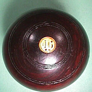 Late 1800s Lignum Vitae Wood Lawn Bowling Ball from Gourock, Scotland
