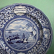 c1825 Historical Blue Plate celebrating American Independence, Pilgrims, Washington, Boxer v Enterprise, etc. by E. Wood & Sons