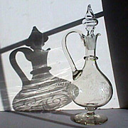 c1845 Copper Wheel Engraved Hand Blown Glass Pitcher or handled Decanter with rough snapped pontil