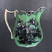 c1845 octagonal Ironstone Pitcher with Mulberry printed roses and underglaze green ground