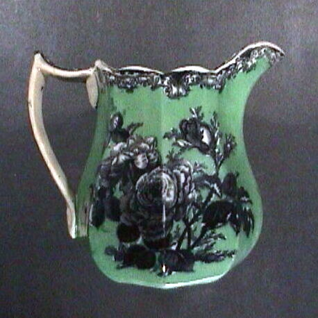 c1845 octagonal Ironstone Pitcher with Mulberry Purple printed Roses and underglaze green ground