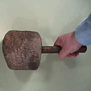 Antique burl maul or mallet with original handle from the mid to late 1700s or early 1800s