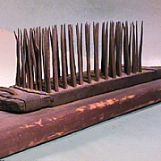 Early 1800s (or older) American Flax Hackle or Comb with hand wrought spikes