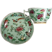 c1850 gilded Chinese Celadon porcelain teacup and saucer with butterflies, birds, fruit, flowers