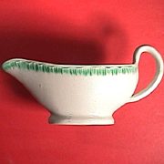 c1805 Green Shelledge Pearlware sauce boat or gravy pitcher by Davenport (also called Featheredge)
