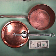 Mid to late 1800s American copper sauce pan with original cover (both stamped: E.M. 128 S. 5th Ave, NY)
