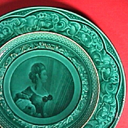 c1842-55 Rubelles Pottery green glazed Plate with lithophane-like portrait of a Lady (Baron du Tremblay)