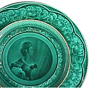 c1842-55 Rubelles Pottery green glazed Plate with portrait of a Lady (Baron du Tremblay)