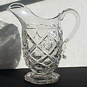 c1845 American Pressed Glass Pitcher in Diamond and Thumb Print pattern (rough snapped pontil, EAPG)