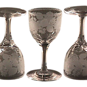 Late 1800s Hand blown, engraved and cut stem small Wine Glass (two remaining)
