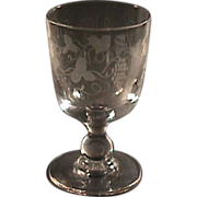 c1830 Hand Blown and Wheel Engraved Glass Goblet on Baluster Stem (two available)