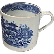 c1795 English Blue and White Porcelain small Can or Child's Mug with Chinese Riverscape